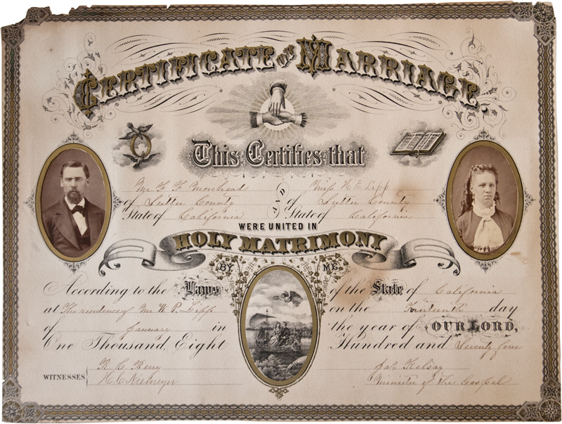 Certificate of Marriage, Engraving with Albumen Photographs, 1874. $400.
